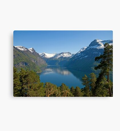Trees, lake and mountains Canvas Print
