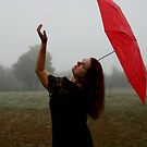 Fog With Red Umbrella 3 by L Hartley