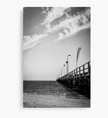 Jetty in Black and White Canvas Print