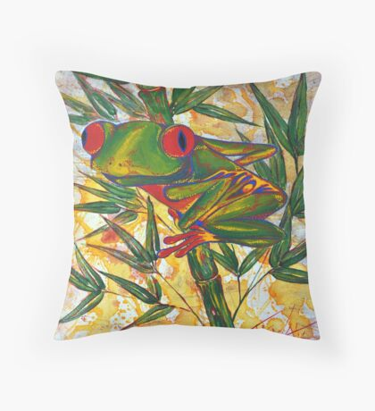 Frog and Bamboo Throw Pillow