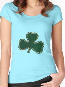 Saint Patrick's Day, Four Leaf Clovers - Green Women's Fitted Scoop T-Shirt
