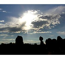 silhouette of balanced rock Photographic Print