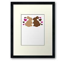 Chocolate bunnies in love Framed Print