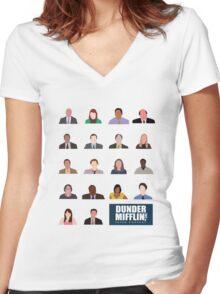 Dunder Mifflin Rolecall! Women's Fitted V-Neck T-Shirt