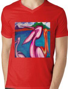 Pelicans. Mens V-Neck T-Shirt