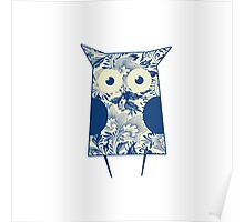 Retro Blue Owl Poster