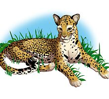 Leopard in the grass by Kotenokgaff
