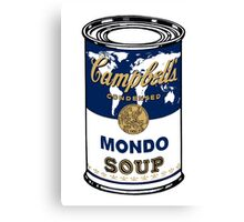 """Mondo Blue"", Warhol inspired Campbell's soup can Canvas Print"