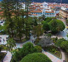 Aerial View Of Parque Calderon in Cuenca Ecuador by Al Bourassa