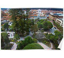 Aerial View Of Parque Calderon in Cuenca Ecuador Poster