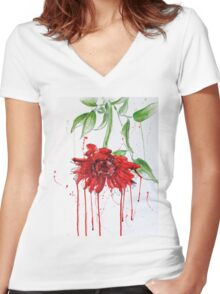 Red Gerbera Women's Fitted V-Neck T-Shirt