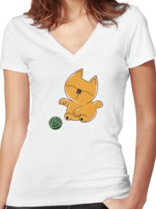 Baby Kitty Chan Women's Fitted V-Neck T-Shirt