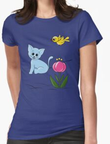 Smiling Cat Womens Fitted T-Shirt