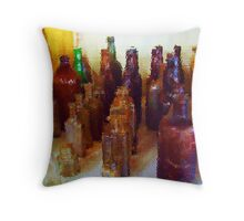 Antique Bottles Throw Pillow