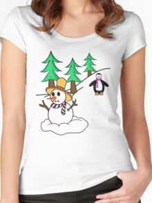 Snow man Women's Fitted Scoop T-Shirt