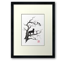 Dangerous conversations sumi-e painting Framed Print