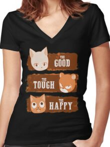 The Good, The Tough and The Happy Women's Fitted V-Neck T-Shirt