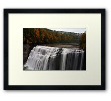 Middle Waterfalls With Fall Colors Framed Print