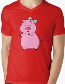 Piggy Pink Mens V-Neck T-Shirt