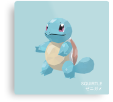 Squirtle Low Poly Metal Print