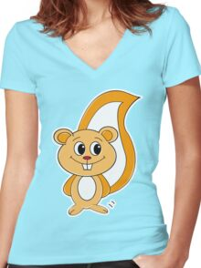 Rally Squirrel Women's Fitted V-Neck T-Shirt