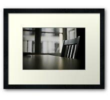 Wooden table desk and chair in empty room with window behind in beige brown colors artistic color digital photo Framed Print