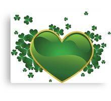 Green heart with clovers Canvas Print