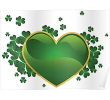 Green heart with clovers Poster