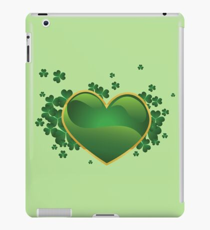 Green heart with clovers iPad Case/Skin