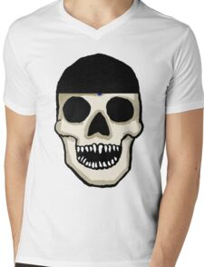 Baseball Fan Skull  Mens V-Neck T-Shirt