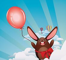 Chocolate Bunny with Balloon by AnnArtshock