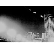 Madrid Spain city skyline at night black and white photograph Photographic Print