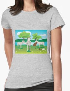 Goat and Green Lawn2 Womens Fitted T-Shirt