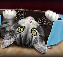 Painting of a Cute Grey Kitten in an Blue Box by ibadishi