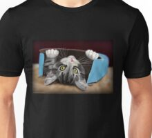 Painting of a Cute Grey Kitten in an Blue Box Unisex T-Shirt