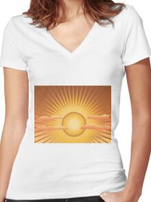 Sun with rays and clouds Women's Fitted V-Neck T-Shirt