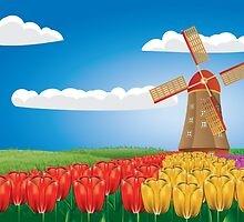 Windmill and tulips by AnnArtshock