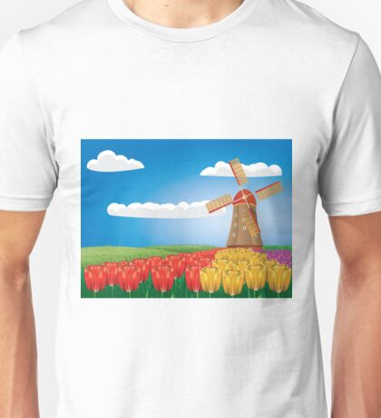 Windmill and tulips Unisex T-Shirt