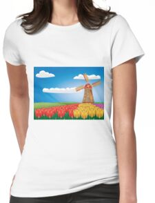 Windmill and tulips Womens Fitted T-Shirt