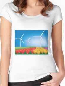 Wind turbine 2 Women's Fitted Scoop T-Shirt