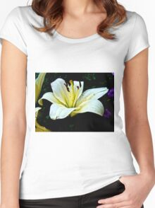 White Lily in the garden 3 Women's Fitted Scoop T-Shirt