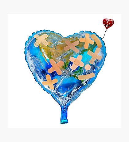 I Love You, Get Well Soon, You Mean The World To Me, Heart, Earth, Street Art Photographic Print