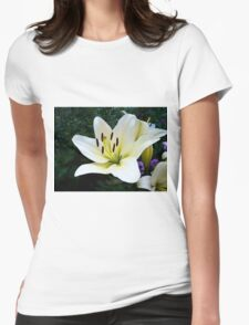 White Lily in the garden 4 Womens Fitted T-Shirt