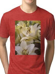 White Lily in the garden 7 Tri-blend T-Shirt