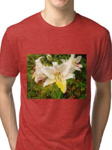 White Lily in the garden 9 Tri-blend T-Shirt