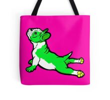 Boston Bull Terrier Puppy Green  Tote Bag