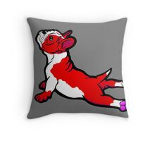 Boston Bull Terrier Puppy Red Throw Pillow