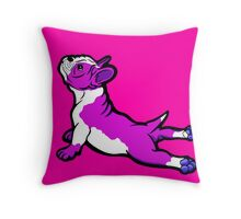 Boston Bull Terrier Puppy Shocking Pink Throw Pillow