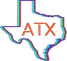 ATX Austin Texas Neon Lights Retro Photographic Print