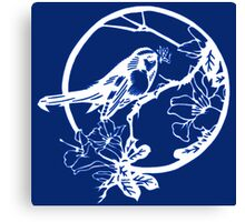 Blue and White Bird on a Branch Canvas Print